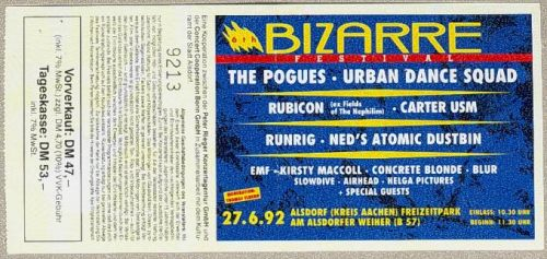 Bizarre festival ticket, Berlin, June 1992