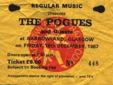 Pogues ticket from December 1987