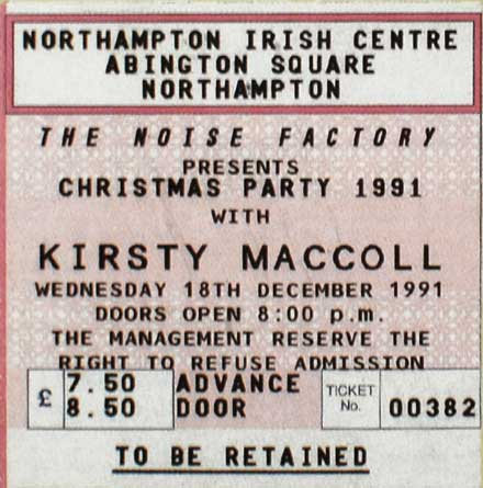 Ticket from the Irish Centre in Northampton