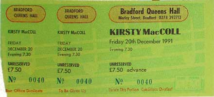 Ticket from Bradford, 20 December 1991