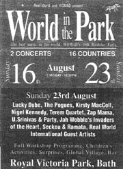 World in the Park poster, 23 August 1992
