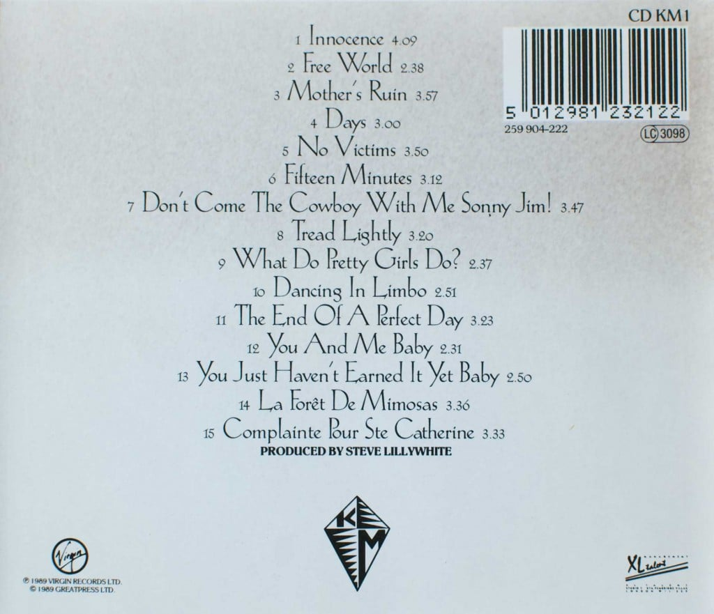 Kite (1989 CD) back cover