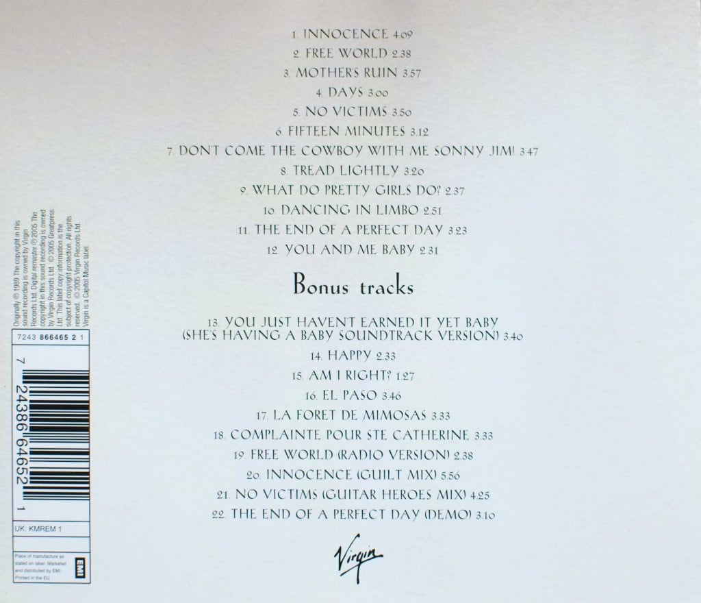 Kite (2005 CD) back cover