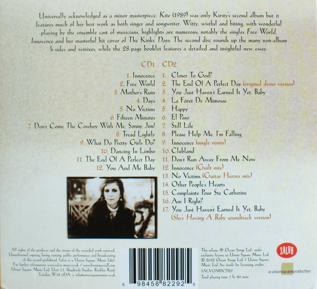 Kite (2012 CD) back cover