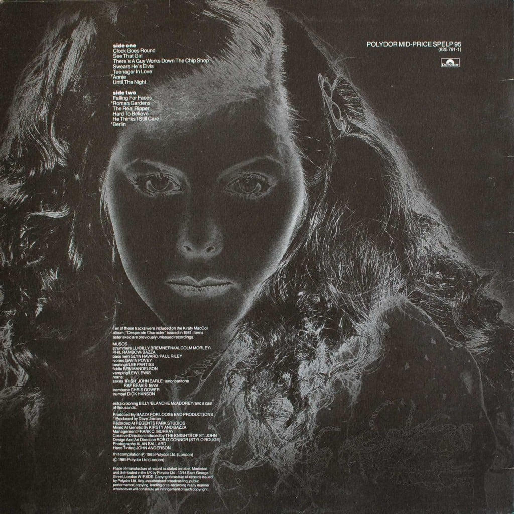 Kirsty MacColl (1985 LP) back cover