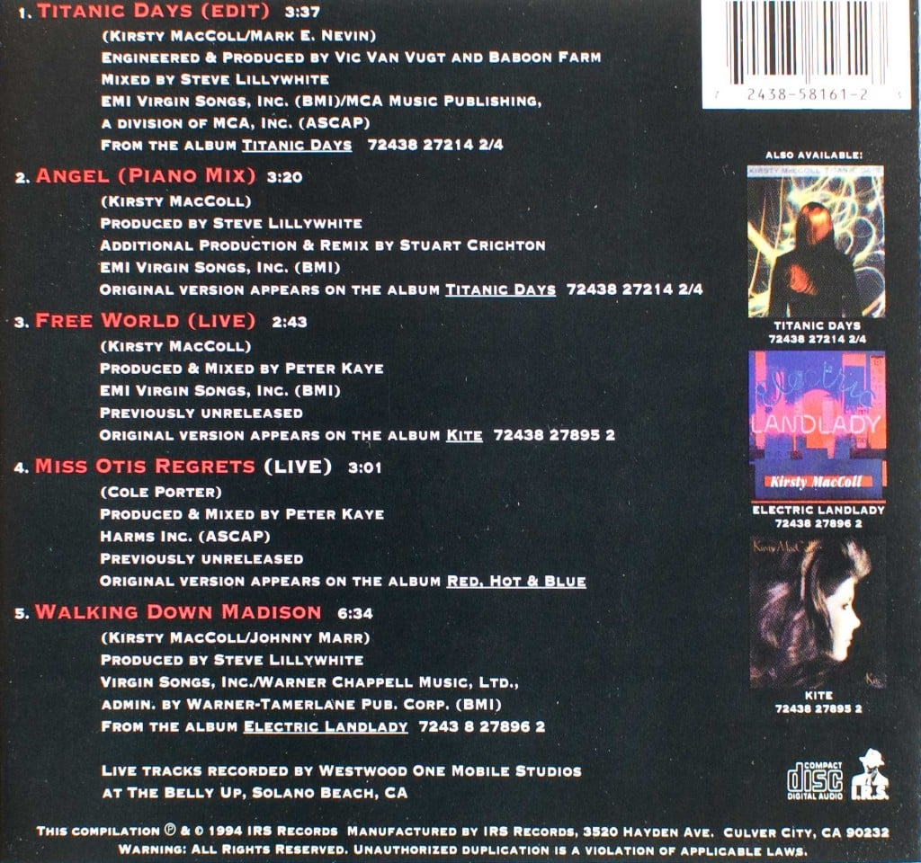 Titanic Days CD single (US) back cover