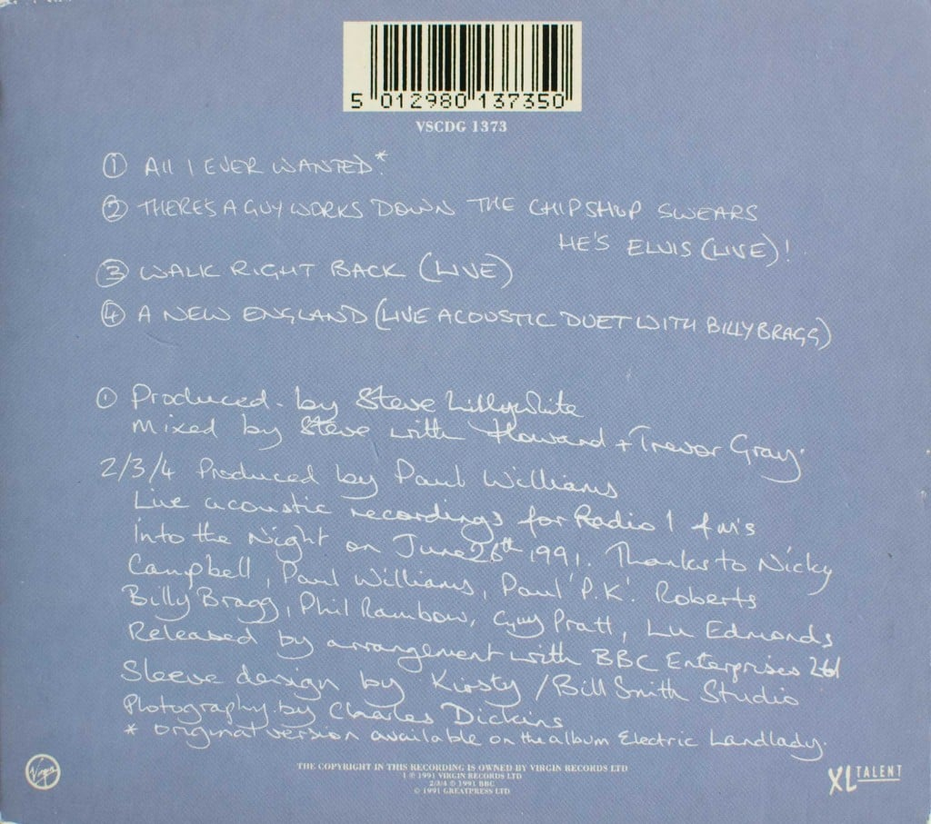 All I Ever Wanted (CD single) back cover