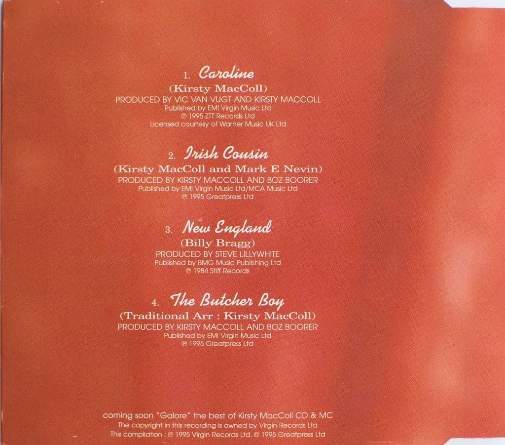 Caroline (CD single 1) back cover