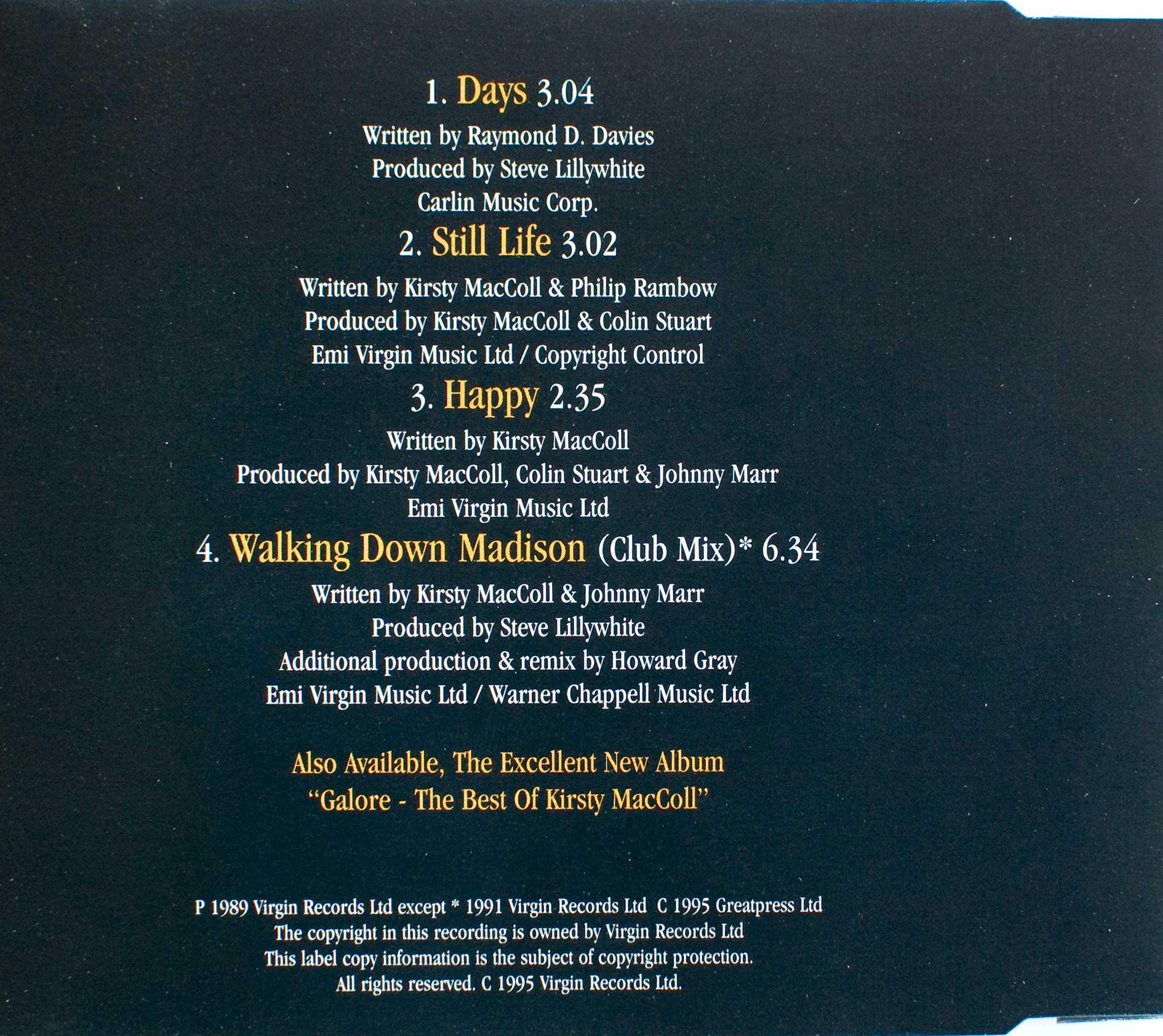 days cd single 1995 kirsty maccoll