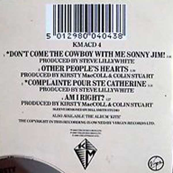 Don't Come the Cowboy With Me, Sonny Jim! (CD single) back cover